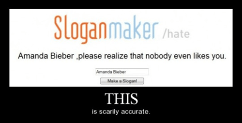 amanda bieber,true,slogan maker,funny