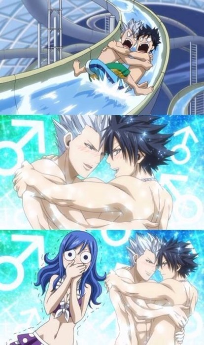 anime memes fairy tail water slide