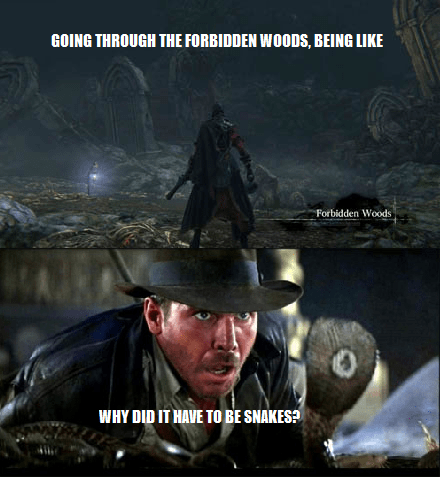 Indiana Jones,bloodborne,snakes