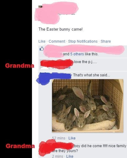 whoops,accidental sexy,grandma,Easter Bunny