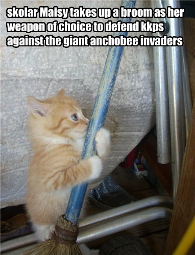 skolar Maisy takes up a broom as her weapon of choice to defend kkps against the giant anchobee invaders