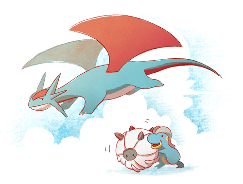 Fan Art salamence shelgon bagon - 8477905920
