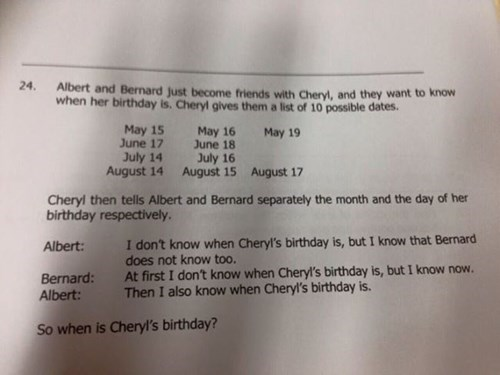 cheryl's birthday logic problem