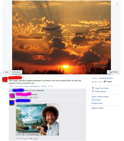 religion comment facebook bob ross failbook - 8479626752
