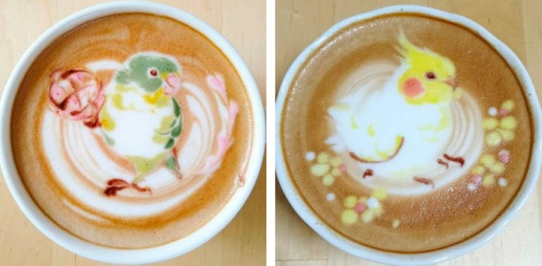 coffee art, bird latte art