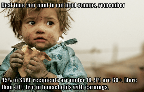 Next time you want to cut food stamps, remember  45% of SNAP recipients are under 18. 9% are 60+. More than 40% live in households with earnings.