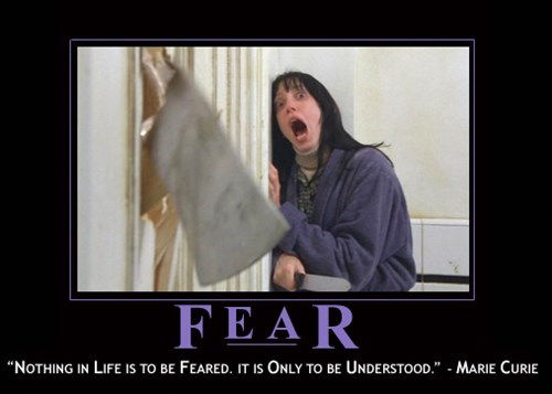 marie curie,fear,quote,funny