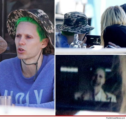 Jared Leto prepares for his turn at the Joker chair with his new, worse hair.