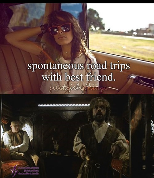 Game of thrones memes road trip with Varys and Tyrion.