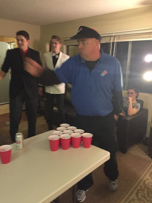 just playing beer pong with the dominos guy