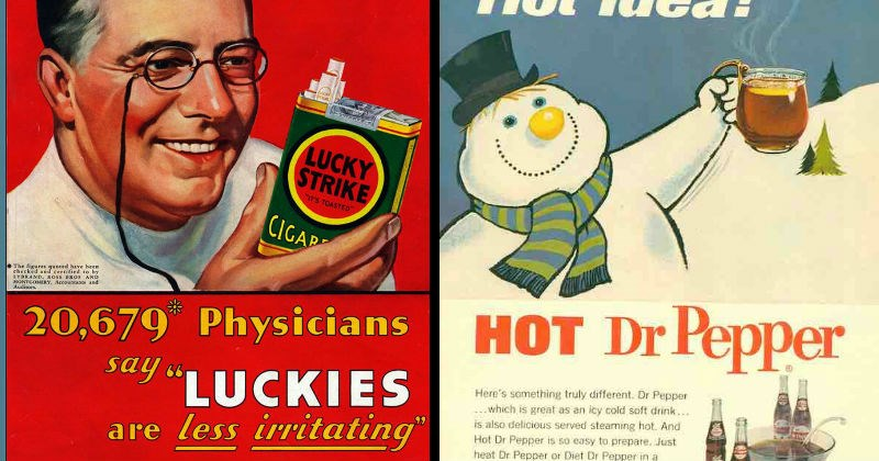 vintage advertisement for cigarettes and hot dr pepper
