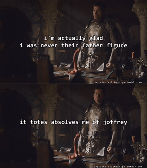 Game of thrones memes season 5 Jaime's glad to write off Joffrey.