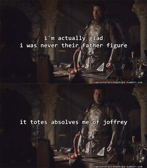 Game of thrones memes season 5 Jaime's glad to write off Joffrey.