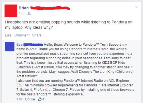 customer service Music clever pandora