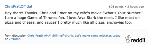 Game of thrones memes christ pratt tells reddit his favorite Game of thrones character.