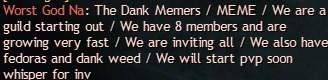 Cringeworthy posting for dank memers group