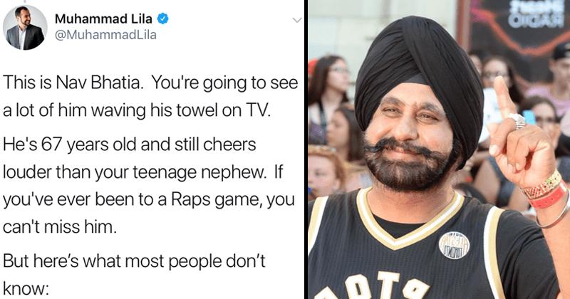 Wholesome twitter thread about Toronto immigrant Nav Bhatia, Toronto Raptors superfan.