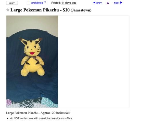 craigslist Pokémon pikachu - 8483876096