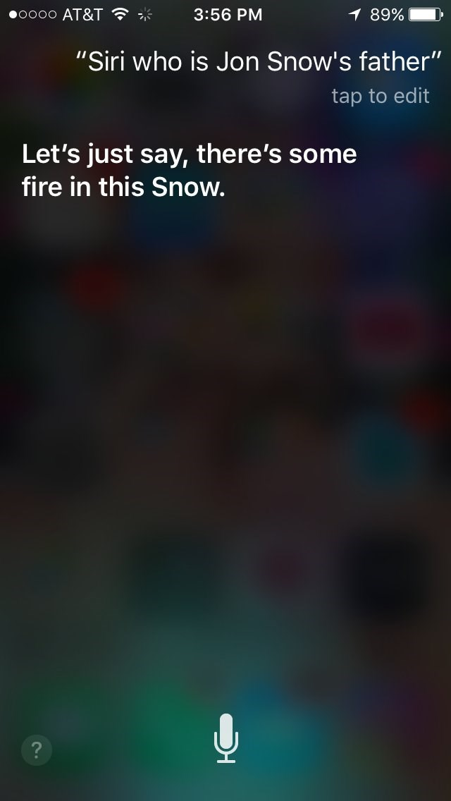 Jon Snow,siri,Game of Thrones,parents,iphone