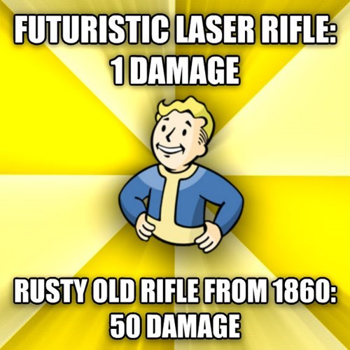 Cartoon - FUTURISTIC LASER RIFLE 1DAMAGE RUSTY OLD RIFLE FROM 1860 50 DAMAGE