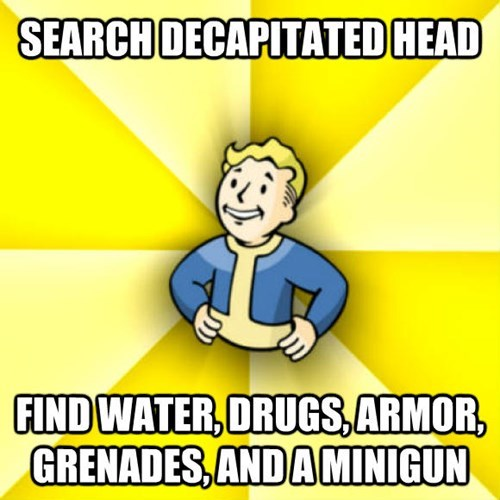 Cartoon - SEARCH DECAPITATED HEAD FINDWATER, ORUGS, ARMOR, GRENADES,ANDAMINIGUN