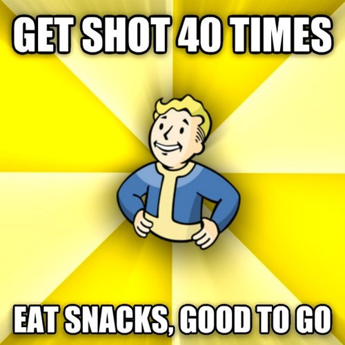 Cartoon - GET SHOT 40 TIMES EAT SNACKS,GOOD TO GO