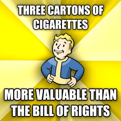 Cartoon - THREE CARTONS OF CIGARETTES MORE VALUABLE THAN THE BILL OF RIGHTS