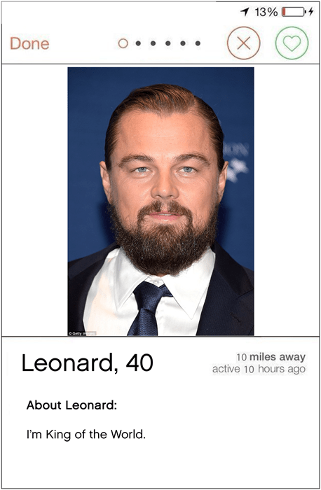 Is Leonardo DiCaprio totally obsessed with Tinder.