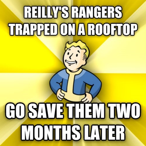 Cartoon - REILLY'S RANGERS TRAPPED ON A RO0FTOP GO SAVE THEM TWO MONTHS LATER