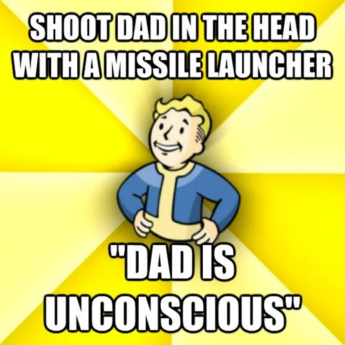 "Cartoon - SHOOT DAD IN THEHEAD WITH A MISSILE LAUNCHER ""DADIS UNCONSCIOUS"