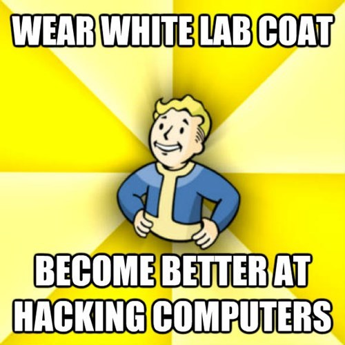 Cartoon - WEAR WHITE LAB COAT BECOME BETTERAT HACKING COMPUTERS