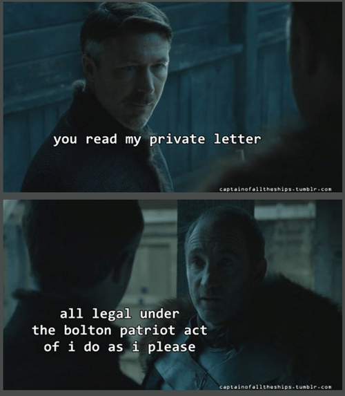 Game of thrones memes season 5 Bolton lays down the law.