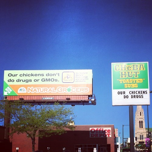 party chicken drugs billboard Some Chickens Know How to Party