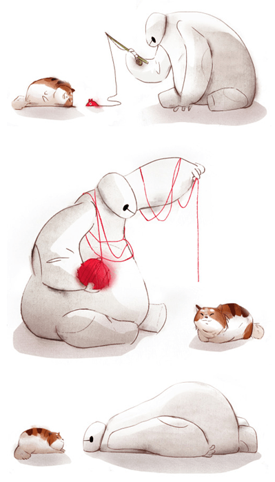 cartoon memes baymax cat fan art