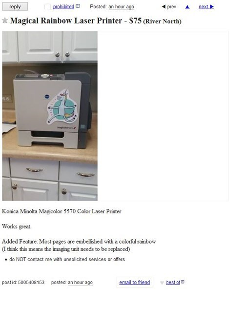 craigslist for sale pretty colors rainbow printer g rated win - 8486897920