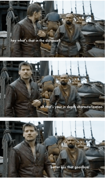 Game of thrones memes season 5 Jaime Lannister's backstory drifts by