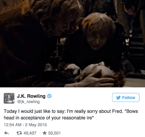 geek memes harry potter jk rowling on fred weasley death