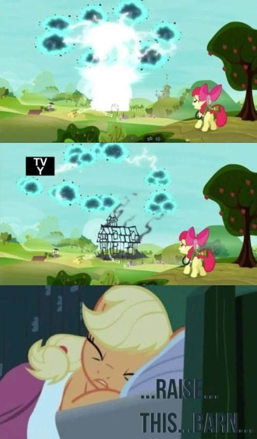 applejack,apple bloom,raise this barn