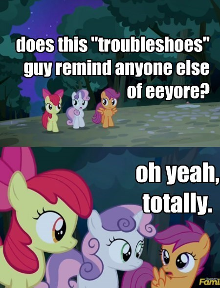 trouble shoes,cutie mark crusaders,eeyore