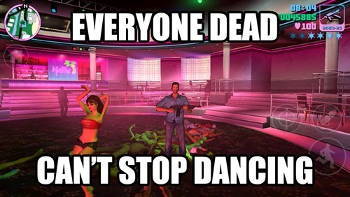Meme about how girl at the club keeps dancing after everyone is dead.