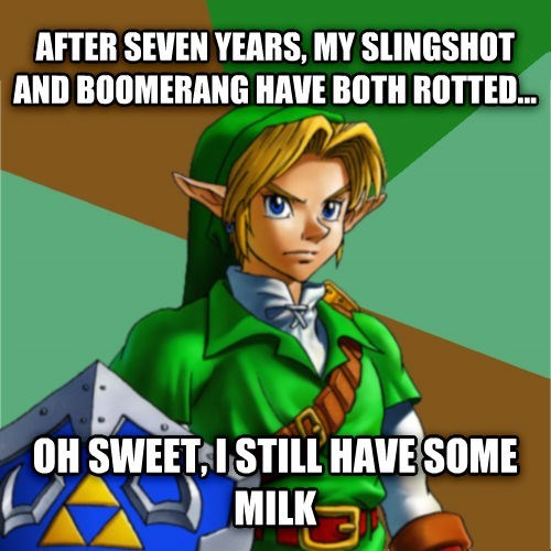 Funny meme about Ocarina and how the slingshot and boomerang would have rotted, but the milk is still good.