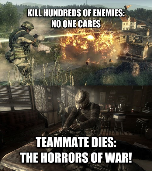 funny meme about the logic of Modern Warfare video games
