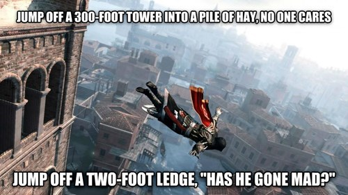 Meme pointing out the logical error of Assasin's Creed falls