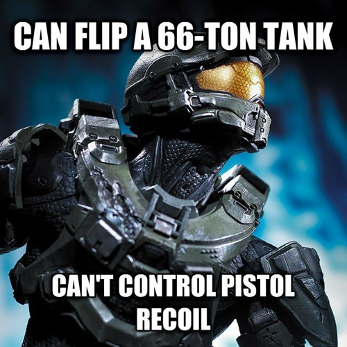 Master Chief video game logic of being able to flip 66 ton tank but can't control pistol recoil
