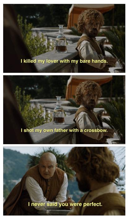 Game of thrones memes season 5 Varys' pep talk doesn't really work with Tyrion.