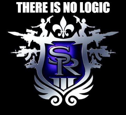 Meme of how there is no logic in Saints Row video game.