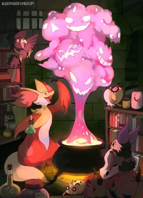 pokemon memes delphox witch fan art