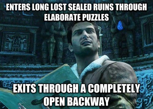 Unchartered 3 logic issues of finding ruins through elaborate maze, then exits through open back door.