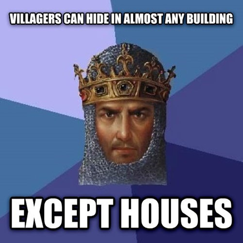 Logic issues with Age of Empires II in which villagers can hid in almost any building, except houses.