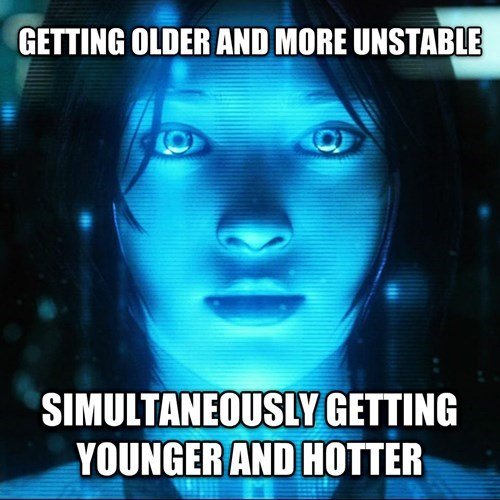 Meme about video game logic and how Cortana gets older and more unstable, but younger and hotter at the same time.
